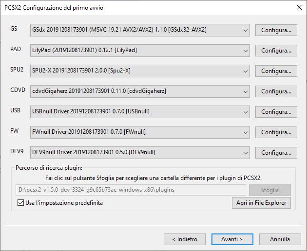 PCSX2 plugin selection