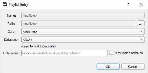 Retroarch desktop menù - entry