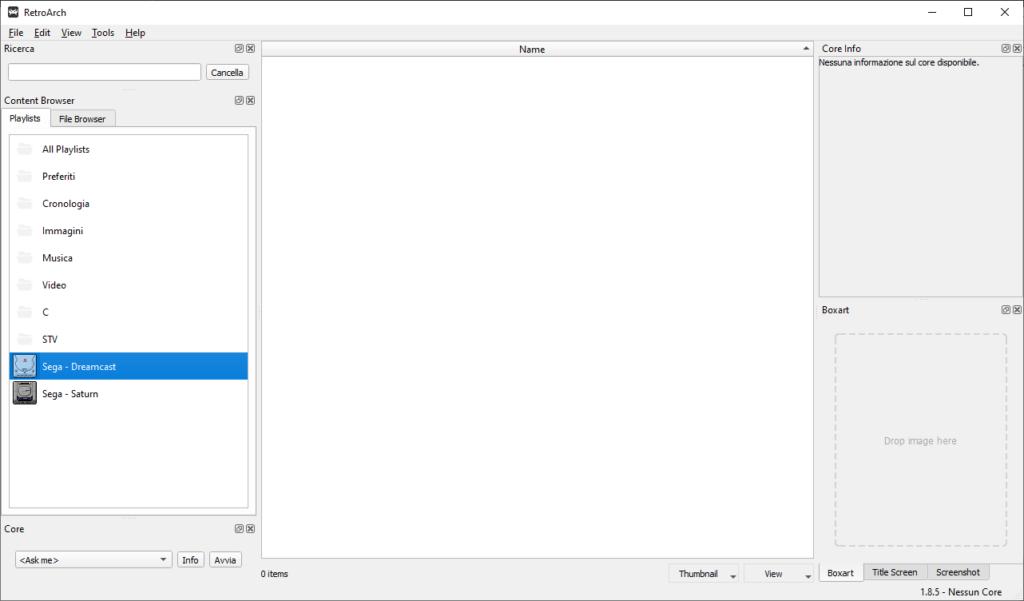 Retroarch desktop menù - void list