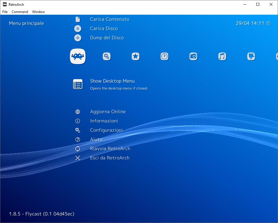 Retroarch - show desktop menù