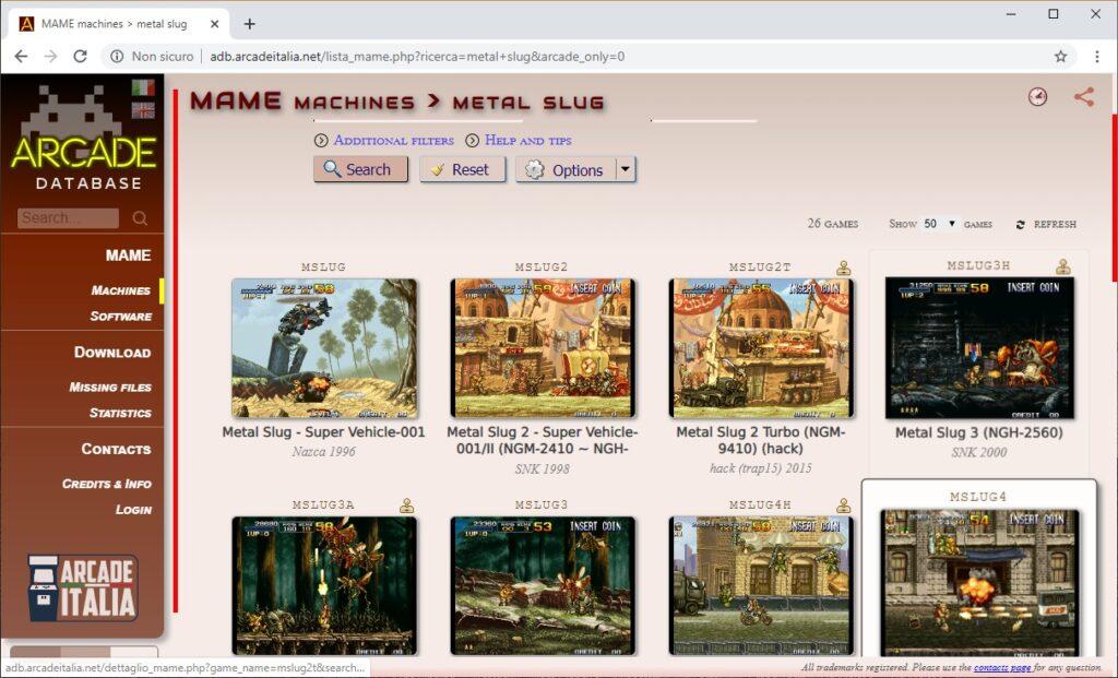 arcade database ricerca