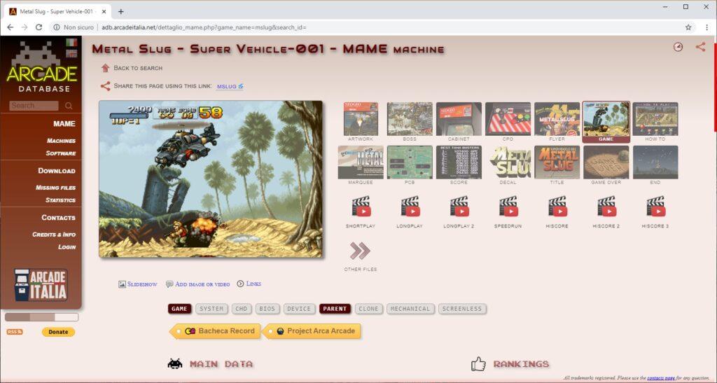 arcade database - scheda 1