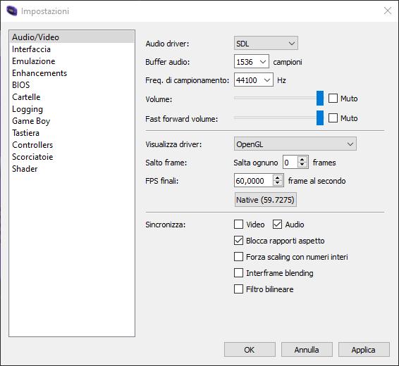 mGBA settings