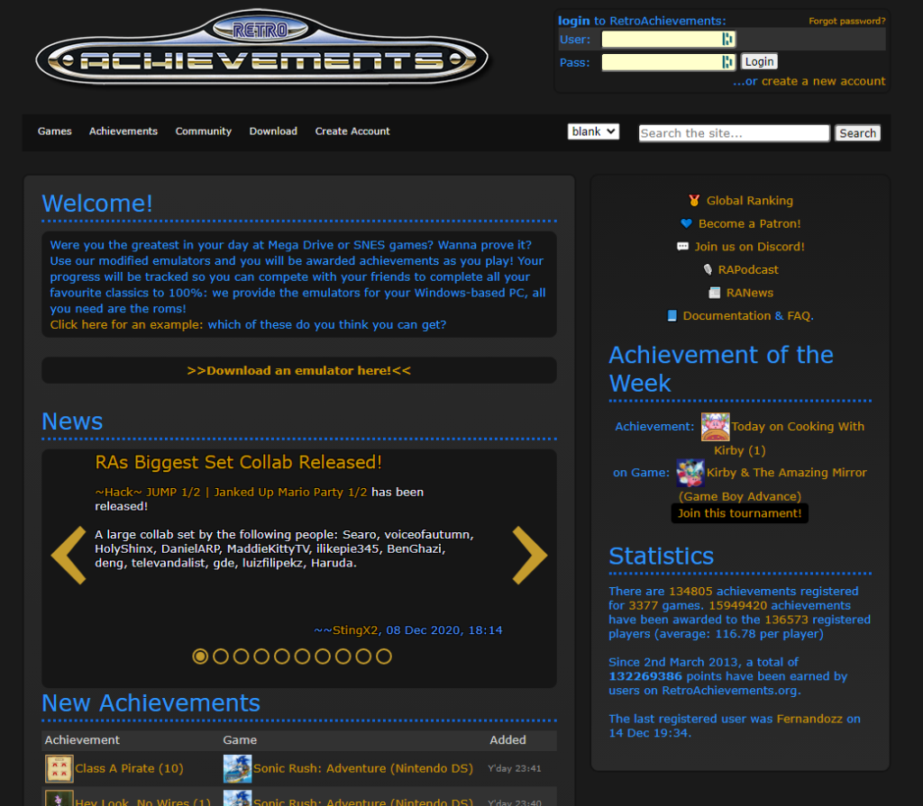 retroachievements site
