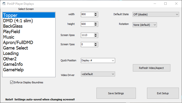 Pinup Player setting